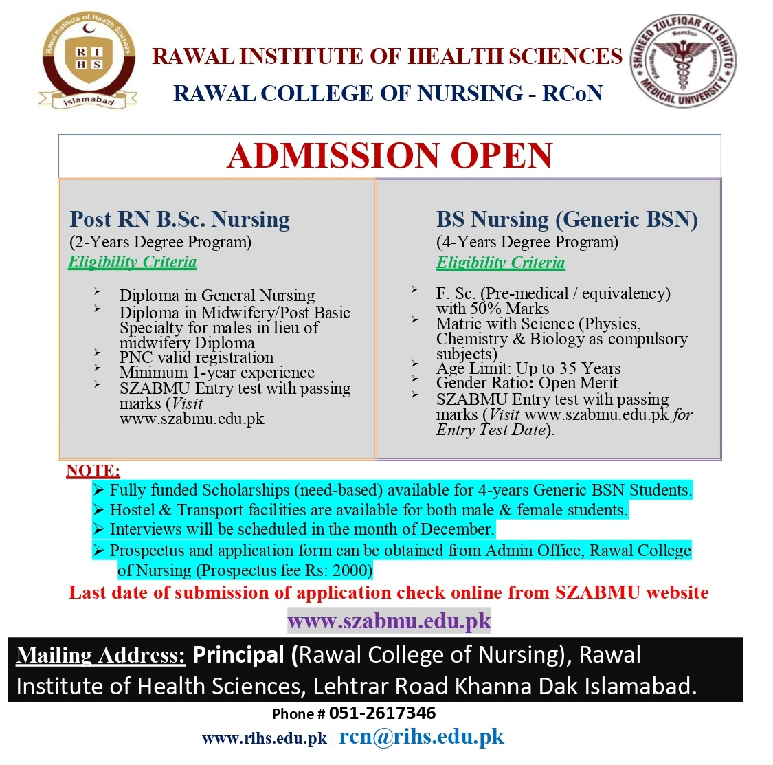 Admission Open Nursing program at Rawal College of Nursing RCN Rawal Institute of Health Sciences RIHS